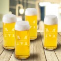 Tall Boy Beer Glasses - Set of 4 - Stamped