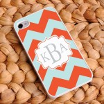 Tangerine Sky Personalized Chevron iPhone Case