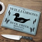 Personalized Cabin Series Glass Cutting Boards - Wood Duck Cutting Board