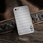 Personalized White Trimmed iPhone Case - Diamond Plate iPhone Case with White Trim