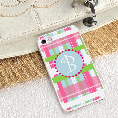 Personalized White Trimmed iPhone Case - Preppy Plaid iPhone Case with White Trim