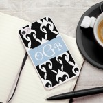 Personalized White Trimmed iPhone Case - Black and White Damask iPhone Case with White Trim