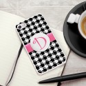 Personalized White Trimmed iPhone Case - Houndstooth iPhone Case with White Trim