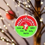 GC425 Santa Round Red Merry Christmas Ornament