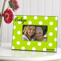Personalized Polka Dots Picture Frame - Green Apple Polka Dot Frame