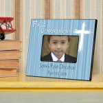Personalized First Communion Picture Frame - The Light of God - Blue