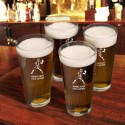 Personalized Set of 4 Sports Icon Pint Glasses  - Football