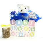 Baby Boy Teddy Bear Cookie Bouquet- 6 or 12 Gourmet Cookies