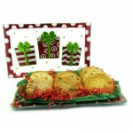 Holiday Presents Glass Cookie Platter Gift - 12-18 Gourmet Cookies