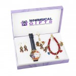 American Patriotic July 4th Gold 4-piece Watch-Bracelet-Necklace-Earrings Jewelry Set